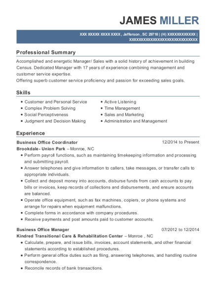 Business Office Coordinator resume sample South Carolina