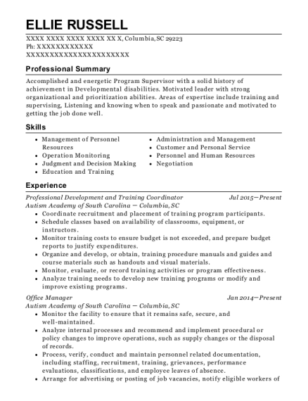 Professional Development and Training Coordinator resume example South Carolina