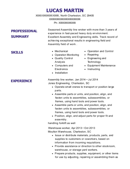 Assembly Line Worker resume template South Carolina