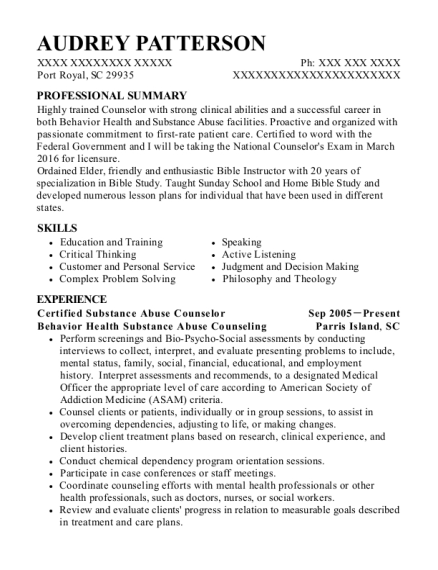 Certified Substance Abuse Counselor resume format South Carolina