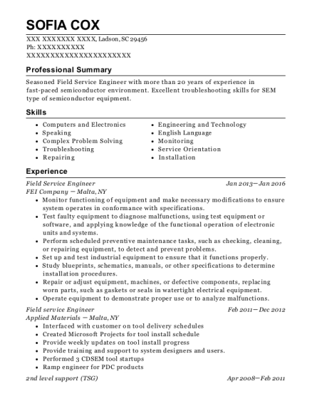 Field Service Engineer resume sample South Carolina