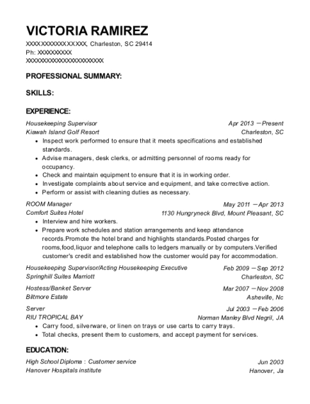 Housekeeping Supervisor resume example South Carolina