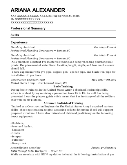 Plumbing Assistant resume format South Carolina