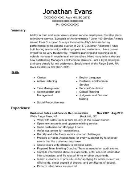 Customer Sales and Service Representative resume example South Carolina
