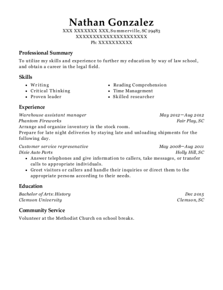 Warehouse assistant manager resume format South Carolina