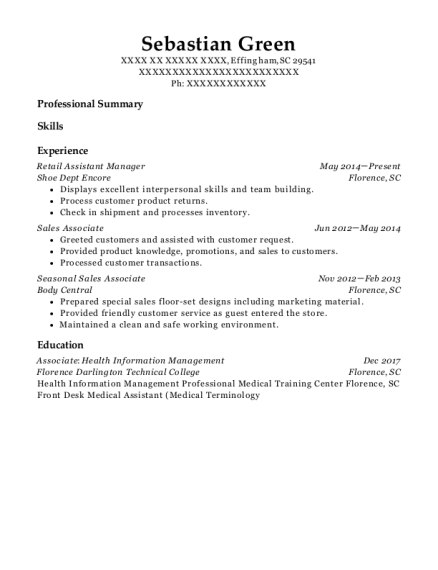 Retail Assistant Manager resume example South Carolina