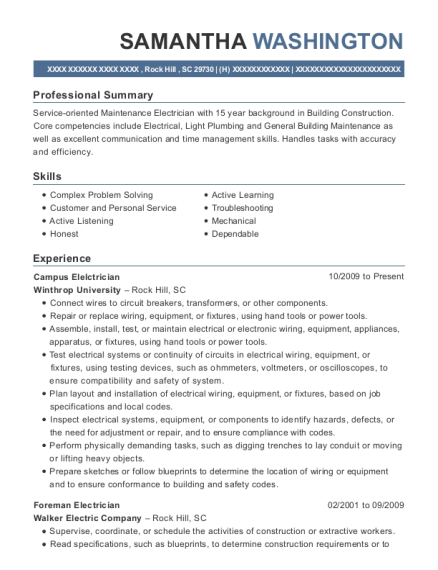 Campus Elelctrician resume example South Carolina