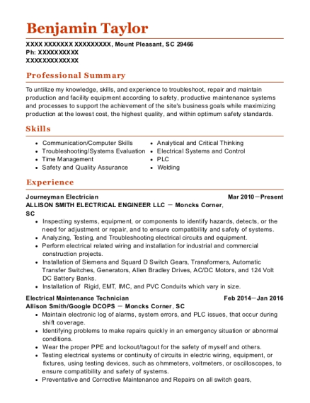 Journeyman Electrician resume example South Carolina