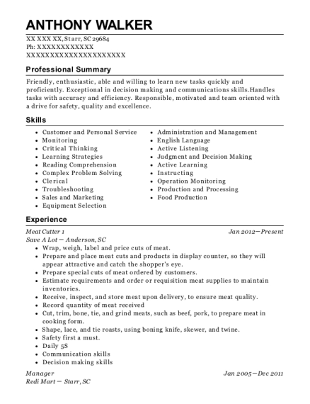Meat Cutter 1 resume example South Carolina