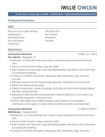 Journeyman electrician resume format South Carolina