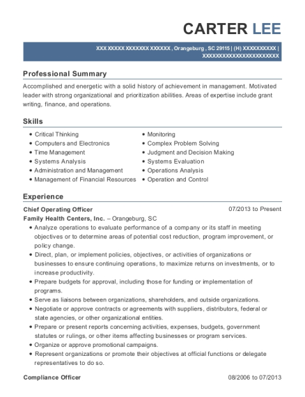Chief Operating Officer resume template South Carolina