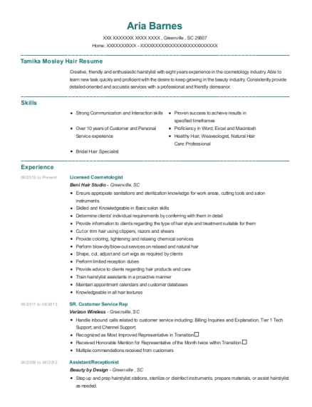 Licensed Cosmetologist resume example South Carolina