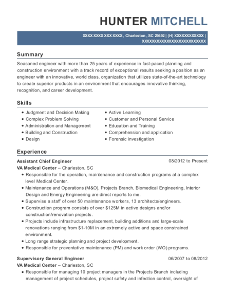 Assistant Chief Engineer resume template South Carolina