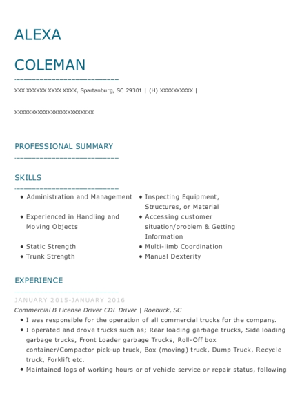 Commercial B License Driver CDL Driver resume example South Carolina