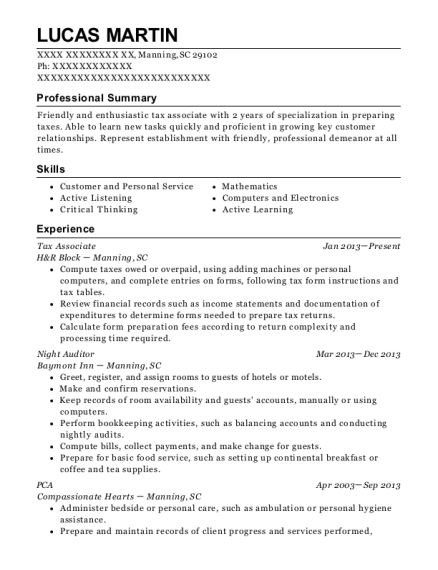 Tax Associate resume example South Carolina
