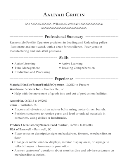 Material Handler resume example South Carolina