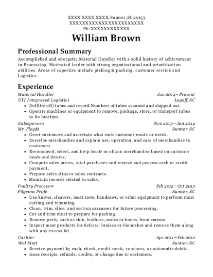 Material Handler resume sample South Carolina