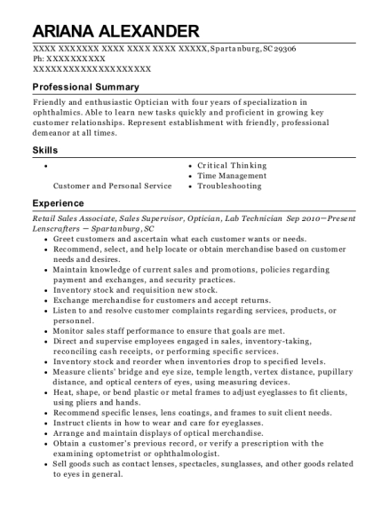Retail Sales Associate resume example South Carolina