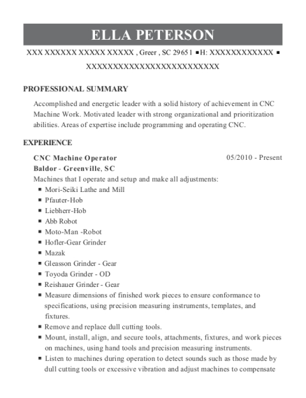 CNC Machine Operator resume format South Carolina