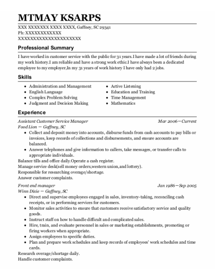 Assistant Customer Service Manager resume template South Carolina