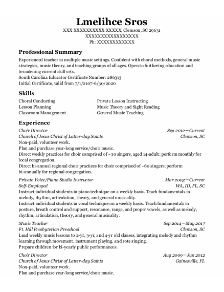 Choir Director resume format South Carolina