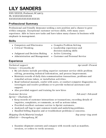 Technical Support resume example South Carolina