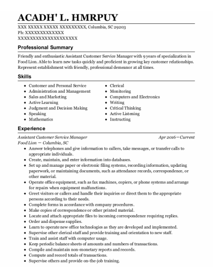 Assistant Customer Service Manager resume format South Carolina