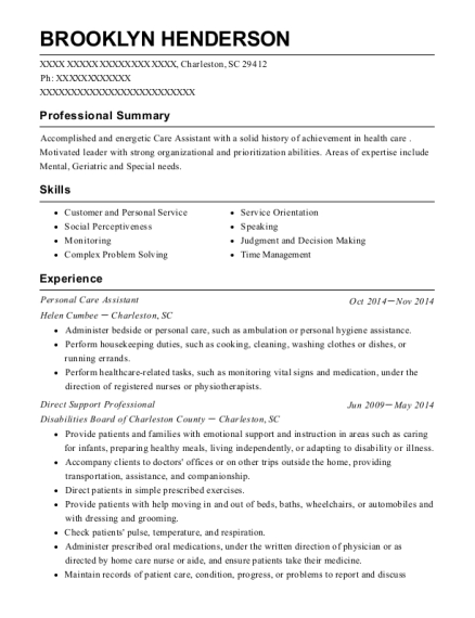 Personal Care Assistant resume format South Carolina