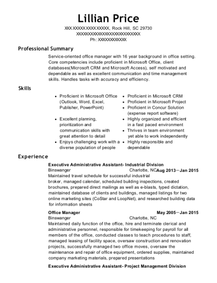 Executive Administrative Assistant Industrial Division resume sample South Carolina