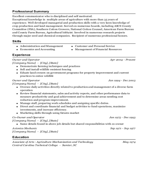 Owner and Operator resume example South Carolina