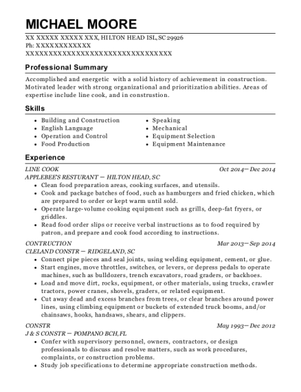 Line Cook resume format South Carolina