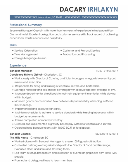 Banquet Manager resume example South Carolina