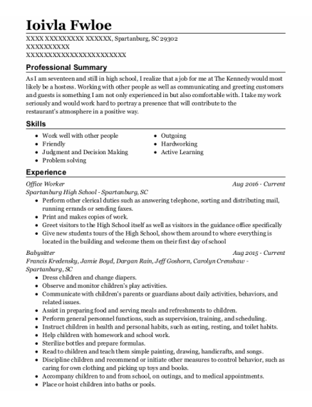 Office Worker resume example South Carolina