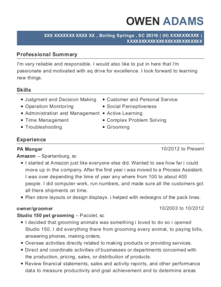 PA Manger resume format South Carolina