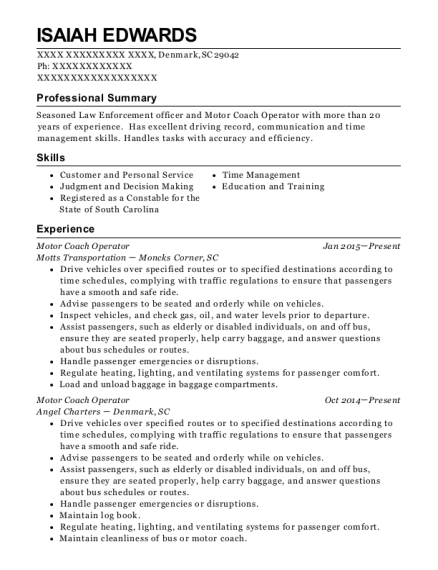 Motor Coach Operator resume example South Carolina