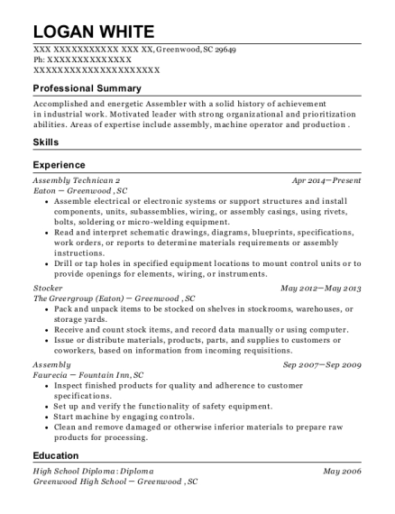 Assembly Technican 2 resume template South Carolina