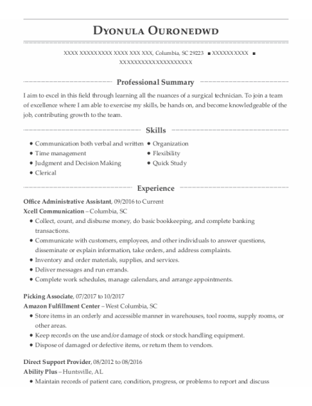 Office Administrative Assistant resume format South Carolina