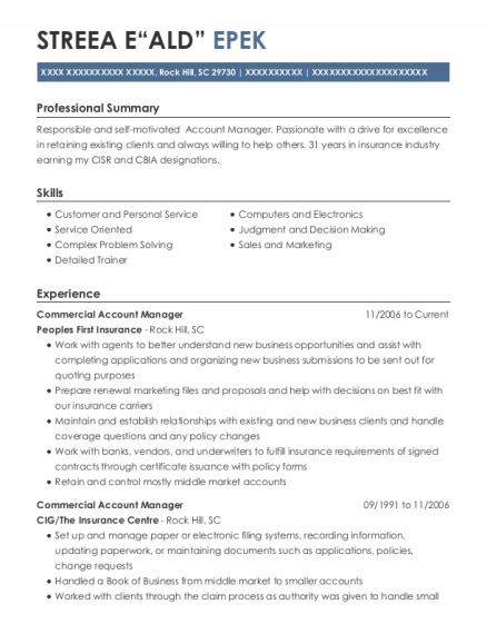 Commercial Account Manager resume template South Carolina