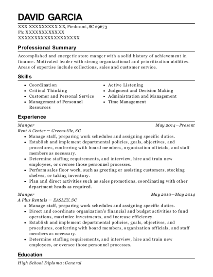 Manger resume sample South Carolina