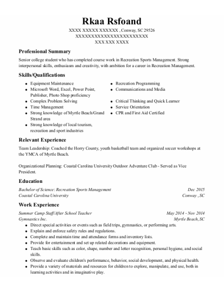 Summer Camp Staff resume template South Carolina