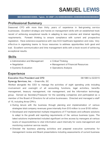 Executive Vice President and CFO resume template South Carolina