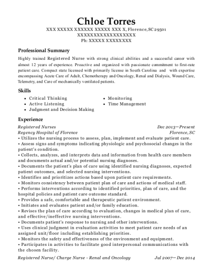 Registered Nurses resume template South Carolina