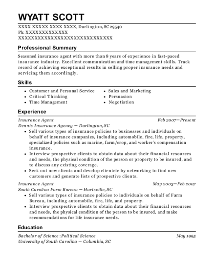 Insurance Agent resume example South Carolina