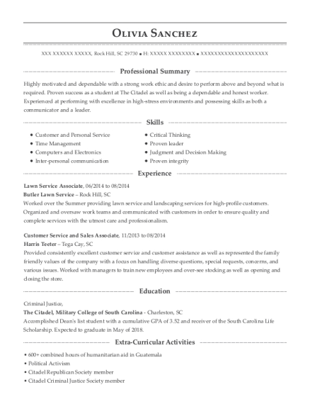 Lawn Service Associate resume example South Carolina