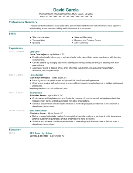 Care Giver resume template South Carolina