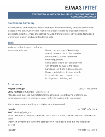 Project Manager resume template South Carolina