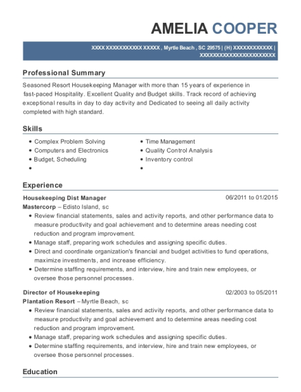 Housekeeping Dist Manager resume example South Carolina