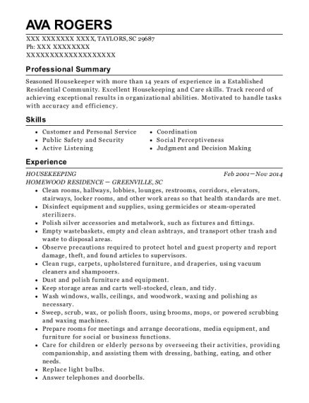 Housekeeping resume template South Carolina