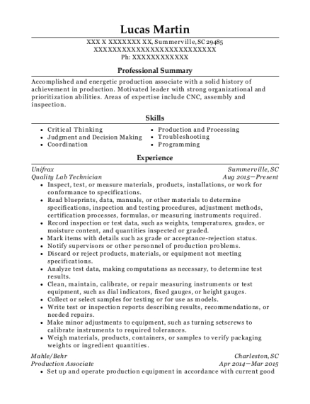 Quality Lab Technician resume template South Carolina