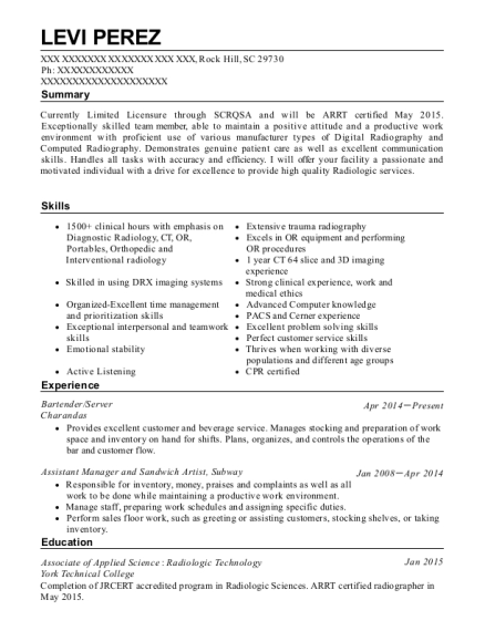 Bartender resume template South Carolina